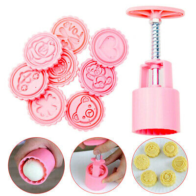 50g Round Pastry Cake Mold Cookies Mooncake Baking Mould 8 Pcs Cartoon Pattern S