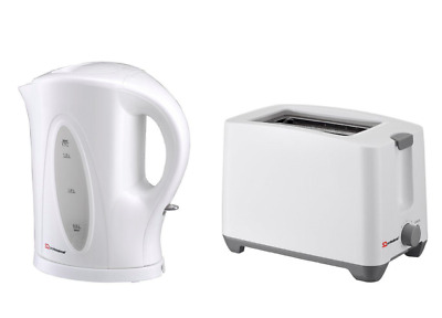 SQ Professional white electric cordless kettle and toaster set in plastic