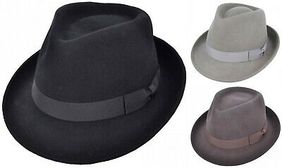 Mens or Womens 100% Wool Trilby Hat with Grosgrain Band Fedora Panama Type Hats