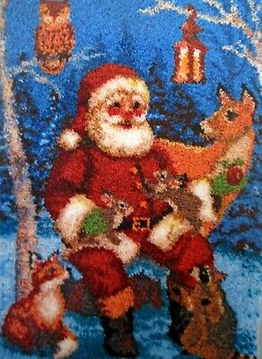 "Latch Hook  Rug Kit  ""Santa With Wildlife "" Christmas Rug By Herschners"