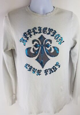 Affliction Cut Series Live Fast Mens White L/S Medium Shirt Distressed Wings
