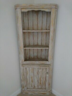 Vintage Shabby Chic Corner Unit Cupboard Shelves Shelving Gold Cream Painted...