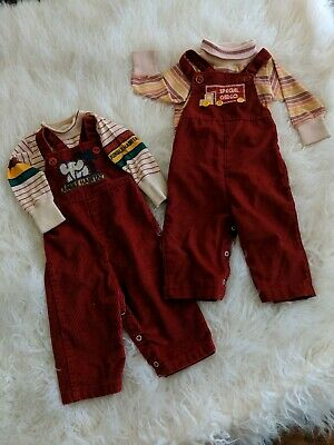Vintage Healthtex Baby Clothes Toddler 70's LOT 4pc Overalls