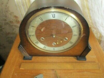 vintage SMITHS ENFIELD art deco oak cased  chiming mantle  clock/