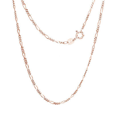 """Valentine's Day Flat Figaro Link 18"""" Chain 14k Rose Gold Over 925 Silver"""