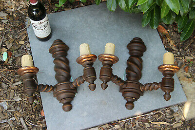 PAIR Antique French wood carved barley twist Wall lights sconces 1930