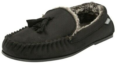 Mens British Designed Black Faux Suede Moccasin Soft Faux Fur Lined Slippers