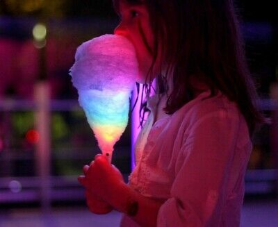LED Cotton Candy Glow Light Up Flashing Cone Floss Fairy Stick Party Fun UK