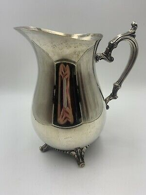 """Wm Rogers 9"""" Silver Plated Footed Serving Pitcher With Ice Lip"""