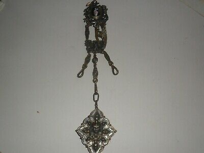 Victorian French Egyptian Revival Gilt & Silvered Metal Enamel Chatelaine Rare