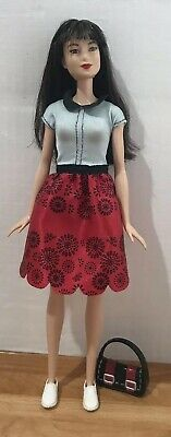 2017 Barbie Fashionistas Doll ~ #19 Ruby Red Floral ~ Original Dress