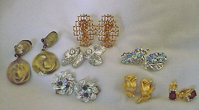 lot 7 pr clip earrings W Germany Prestige gold & silver tone metal, rhinestones