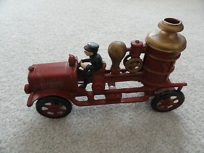 Vintage Cast Iron Red Fire Truck