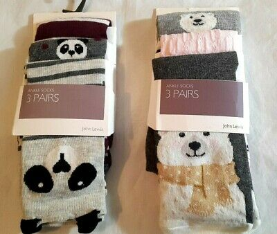 NEW John Lewis Animal Theme 3 Pack Ankle Socks, Multi Shoe Size 4-8