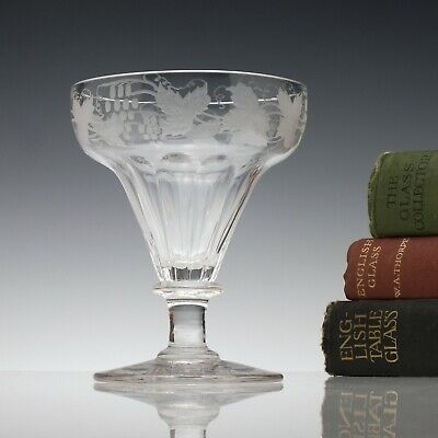 Engraved 19th Century Petal Moulded Glass Rummer c1860