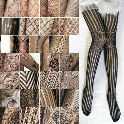 Luxury Black Floral Diamond Rose Pattern Fishnet Tights Womens Pantyhose