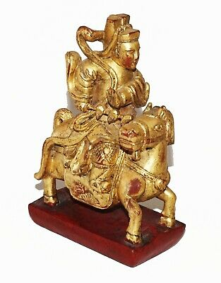 20C Chinese Carved Gilt Wood Deity Marshall Figure on Horseback Sculpture (Cwo)