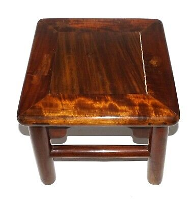 19C Antique Chinese Hardwood Foot Stool Beautiful Wood Grain - 2 of 2 (Cwo)