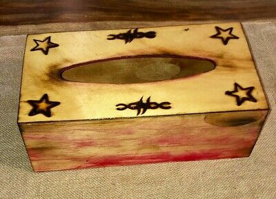 Rustic Western Branded Wooden Tissue Box Cover Handmade New