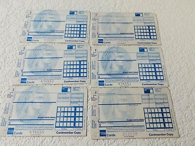 SIX RARE AMERICAN EXPRESS (AMEX) CREDIT CARD CHARGE RECORD RECEIPTS-Unused