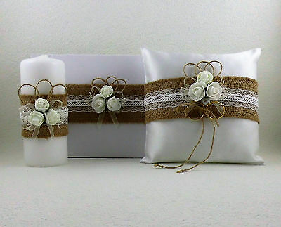Wedding Set with Jute Ribbon, Ringpillow, Guestbook, Wedding Candle