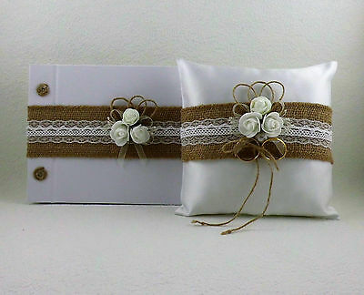 Wedding Set with Jute Ribbon - Ringpillow, Guestbook, Gift Idea Gift