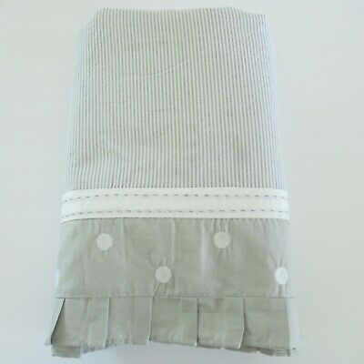 Pottery Barn Kids Crib Skirt Gray Stripe Polka Dot Pleated Embroidered Taylor