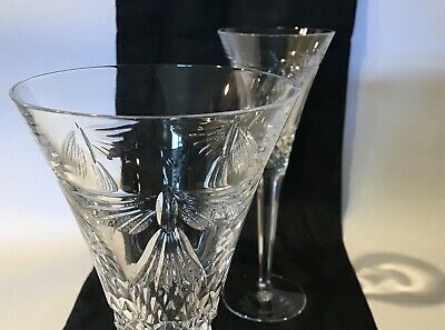 Pair (2) Waterford Crystal Millennium Peace Doves Champagne Wine Toasting Flutes