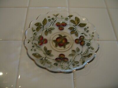 Antique Dugan Goofus Glass Scalloped Intaglio Red Gold Cherries Saucer Plate