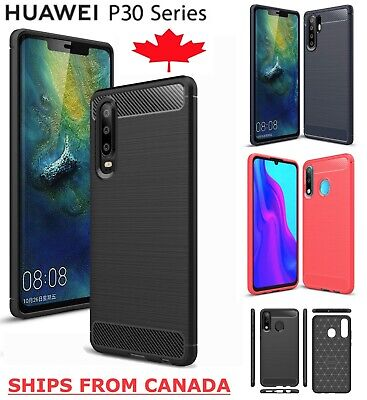 For Huawei P30 / Pro Lite - Carbon Fibre TPU Armour Cover Heavy Duty Hybrid Case