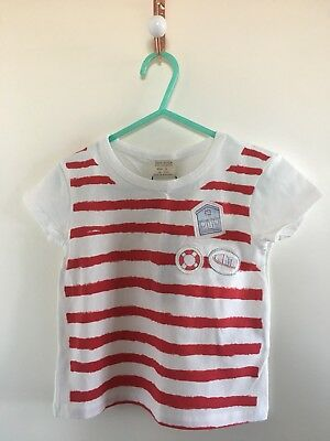 Girls Zara Red & White Striped Top Age 5/6 Years Brand New