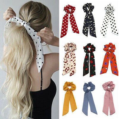 Boho Print Ponytail Scarf Bow Elastic Cloth Hair Rope Tie Ribbon Hair Bands UK