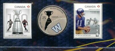 Canada 2012 100th Grey Cup 25c Coin Stamp WINNIPEG BLUE BOMBERS CFL Football