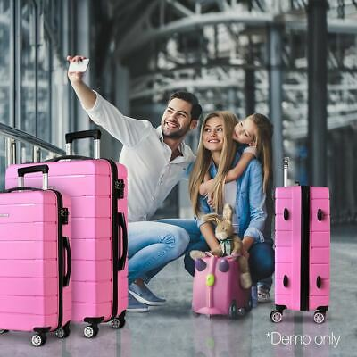 3-Piece Luggage Trolley Set Hard Case Travel Suitcase Retractable with Lock