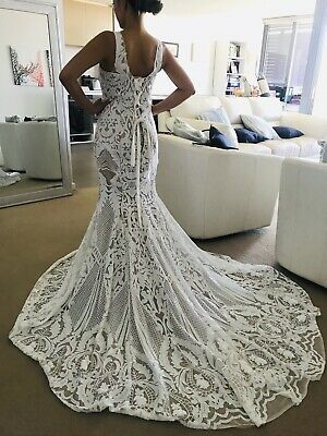 Sequin Wedding Dress Size 10 Lace Up Back