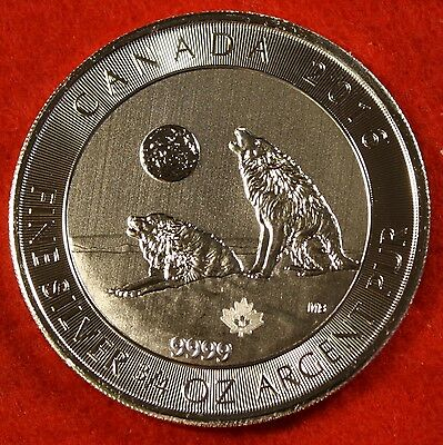 2016 CANADIAN GREY WOLF DESIGN 3/4 oz .9999% SILVER NEW SERIES RCM COLLECTOR