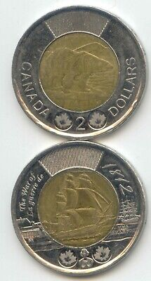 Canada 2012 + War of 1812 Ship Two Dollar Canadian Toonie $2 Dollars 2 Coins ~