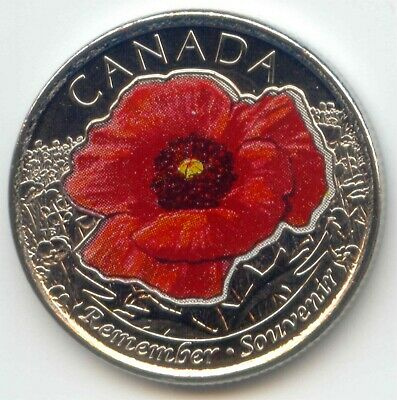 Canada 2015 Quarter UNC Canadian Coloured POPPY REMEMBER 25c Twenty-five Cents