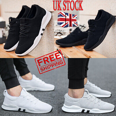 Uk Mens Breathable Trainers Laceup Sport Fitness Running Gym Sneakers Shoes Size