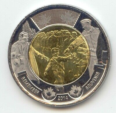 Canada 2014 Toonie Two Dollar Coin Canadian $2 REMEMBER WAIT FOR ME DADDY UNC