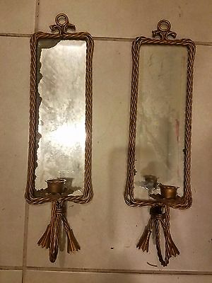 """Vintage Antique Pair of Decorative Brass Beveled Mirror Candle Holder 4.5x17.5"""""""