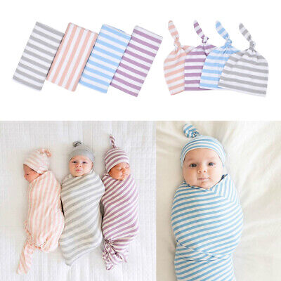 Baby Cotton Blankets Printed Newborn Infant Sleeping Swaddle Muslin Wrap+Hat 2PC