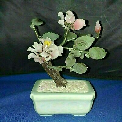 """Vintage Chinese Jade? Agate? Glass Floral Sculpture bonsai approx 6.5""""H"""