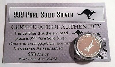 Platypus 1/10th Oz 99.9% Pure Solid Silver Coin, 14 to Collect with C.O.A.