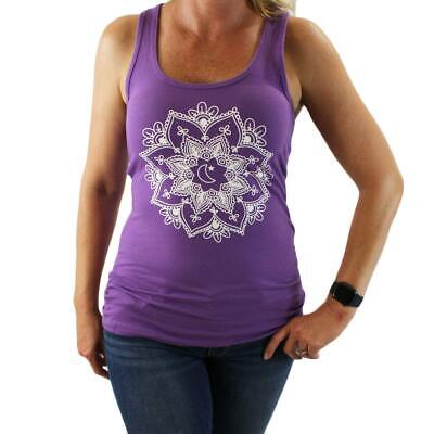 Women's Racer Back Purple Tank Top with Mandala Design Summer Clothing