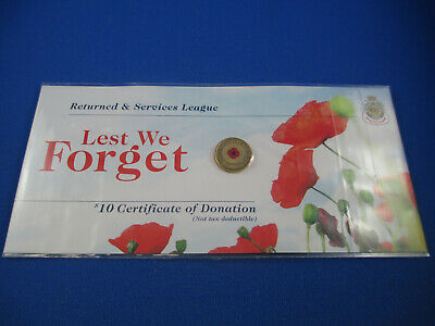 2012 $2 Colour Printed Red Poppy Unc Coin On Rsl Original Card