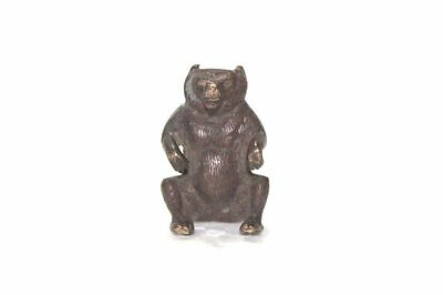 Brass Teddy Bear Figure 1900's Old Vintage Indian Handcrafted Collectible Z-79