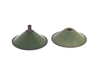 Green Electric Lamp Shade Pair 1900 Old Vintage Antique Enamel Q-12