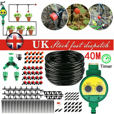 Automatic Drip Irrigation System Kit Plant Timer Self Watering Garden Hose 40M