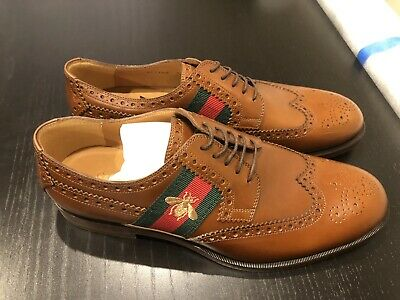 83b54b39dcf11 New Men's Brown GUCCI Leather Oxford Lace-up Bee Web Dress Shoes US9 UK8.